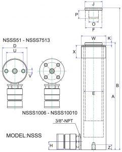 Bản vẽ hình học kích thủy lực NSSS102