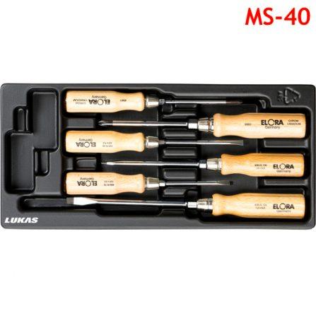 Bộ tô vít cán gỗ 6 món MS-40 Elora Germany, đầu 4 cạnh và dẹt.