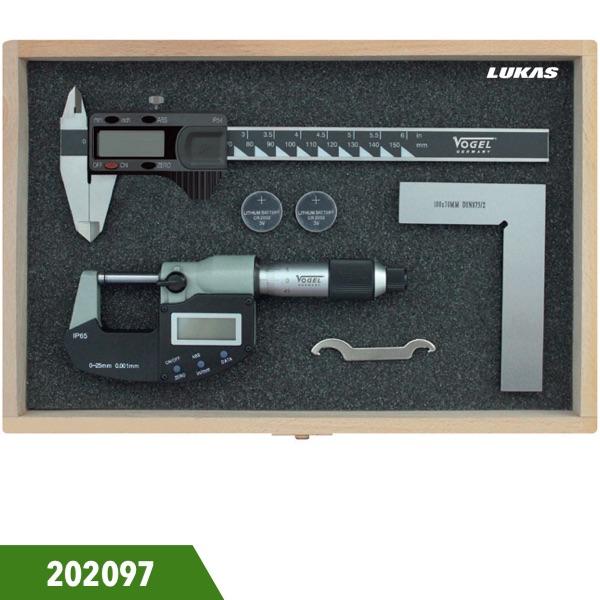 Bộ panme thước cặp điện tử và eke 3 món 202097 Vogel Germany.