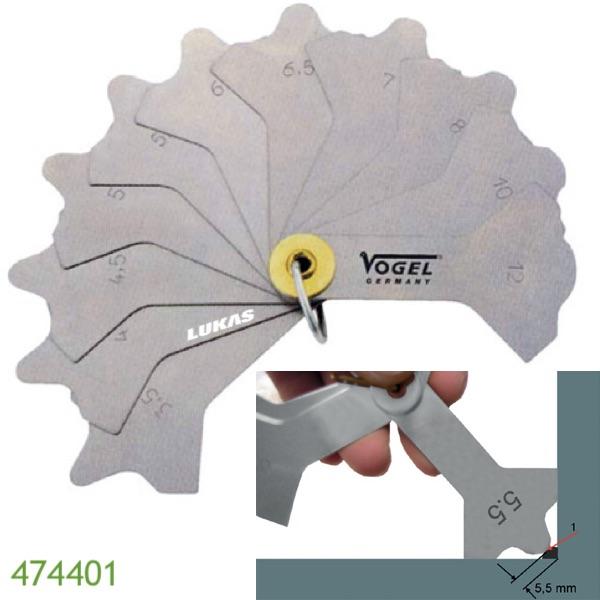 Thước đo mối hàn cơ khí 12 lá 474401 Vogel Germany.
