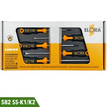 Bộ tuốc nơ vít 5 món 582S5-K1 và 582S5-K2 Elora Germany.