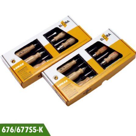 Bộ tô vít cán gỗ 5 cái 676S5-K và 677S5-K Elora Germany.