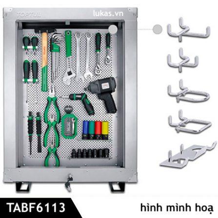 Tủ treo đồ nghề TABF6113 Toptul Taiwan, bao gồm 37 móc treo.