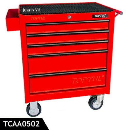 Tủ 5 ngăn đựng dụng cụ TCAA0502 Toptul Taiwan, màu đỏ.