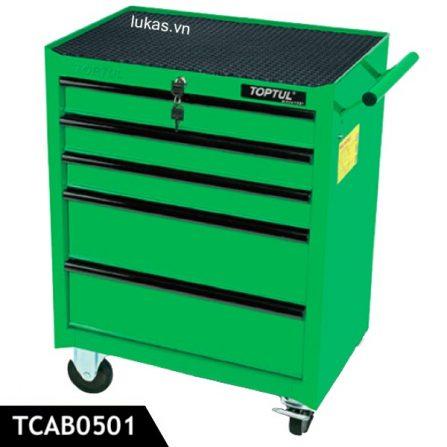 Tủ đồ nghề nhỏ 5 ngăn TCAB0501 Toptul Taiwan, màu xanh lá.