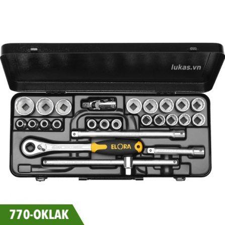 Bộ tuýp 23 món 770-OKLAK hệ inch, socket 12 cạnh Elora Germany.