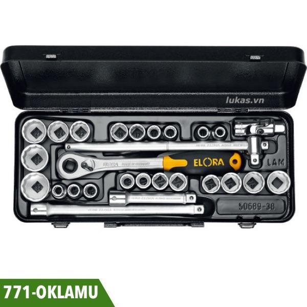 Bộ đầu khẩu 27 món 771-OKLAMU vuông 1/2 inch Elora Germany.