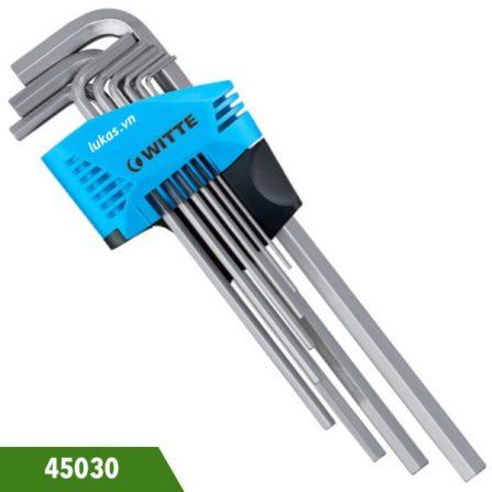 Bộ lục giác dài 9 cái 45030 WITTE từ 1,5 đến 10mm, sản xuất tại Đức.