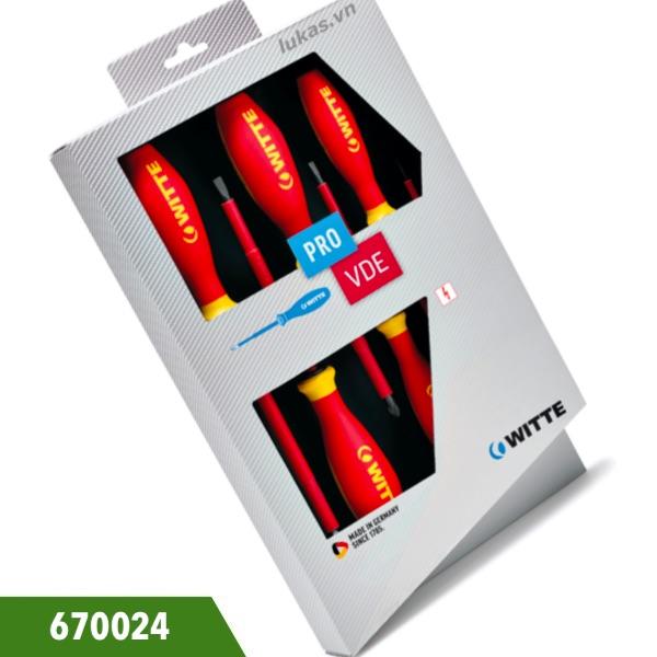Bộ tô vít cách điện 5 cái 670024 WITTE, sản xuất tại Đức.