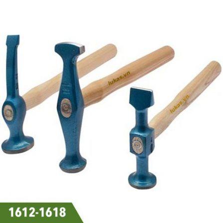 Búa làm đồng đầu dẹp và tròn 290-300mm Elora 1612-1618. Cán bằng gỗ. Sản xuất tại Đức. Đầu búa bằng thép C45.