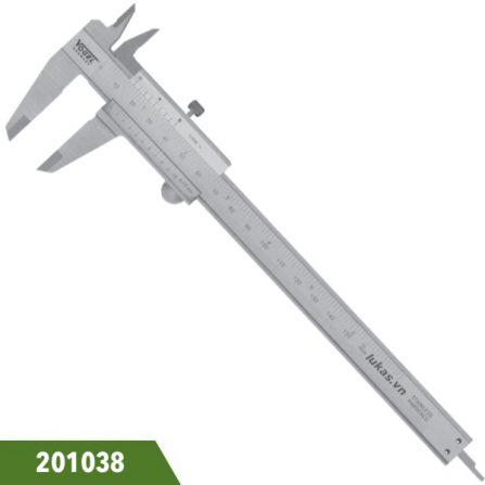 Thước cặp inox 200mm, độ chính xác 0.05mm, Vogel 201038. Ngàm 40x16mm. Độ chính xác 0.05mm. DIN 862. Sản xuất tại Đức.