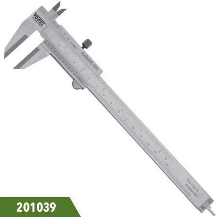 Thước cặp inox 15cm, ngàm siêu cứng Tungsten, Vogel 201039. Ngàm 40x16mm. Độ chính xác 0.05mm. DIN 862. Sản xuất tại Đức.