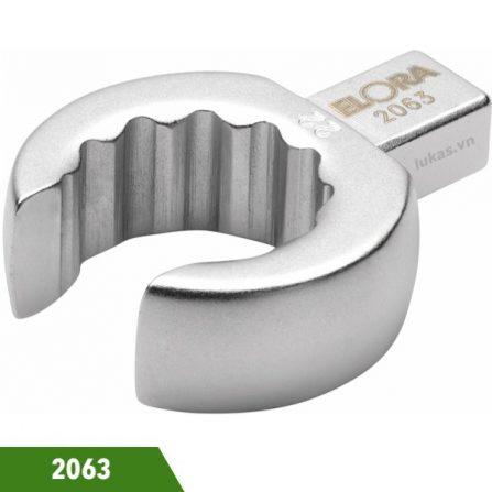 Đầu rời vặn socket cho cờ lê lực 10 đến 22mm Elora 2063 series.. Vật liệu Chrome vanadium 31CrV3 / 1.2208.