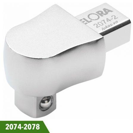 """Đầu rời cho cờ lê lực tháo lắp Elora 2074-2078 series. Đầu vuông 1/4, 3/8, 1/2"""". Đáp ứng tiêu chuẩn DIN 3120, ISO 1174."""
