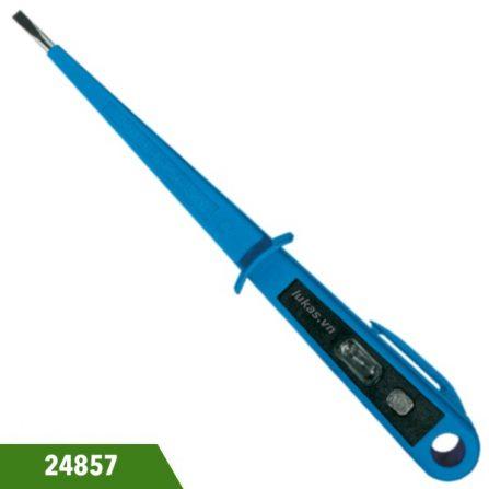 Bút thử điện 125-250V dài 190mm loại hạ thế Witte 24857. Toàn thân bằng nhựa màu xanh dương. Chuẩn VDE 0680.