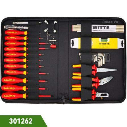 Bộ dụng cụ đa năng 20 món kèm túi đựng Witte 301262. Gồm kìm, tô vít, lục giác, thước xếp, bút thử điện, thước thủy.
