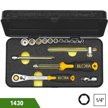 Bộ socket 14-16 món, đầu vuông 1/4 inch, Elora 1430. Sản xuất theo chuẩn DIN 3122, ISO 3315. Đầu vuông chuẩn DIN 3120, ISO 1174. Hàng nhập.