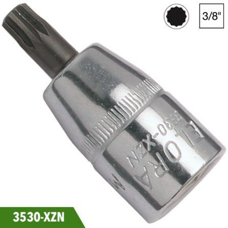 Đầu tuýp mũi vít 12 cạnh loại ngắn, vuông 3/8 inch, Elora 3530-XZN. Đầu vuông DIN 3120-C 10, ISO 1174. Sản xuất theo tiêu chuẩn DIN 2325.