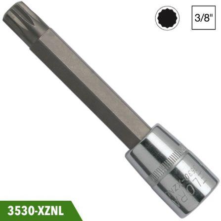 Socket đầu vít 12 cạnh loại dài, đầu vuông 3/8 inch, Elora 3530-XZNL. Đầu vuông DIN 3120-C 10, ISO 1174. Sản xuất theo tiêu chuẩn DIN 2325.