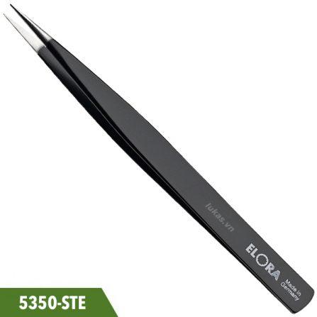 Nhíp mũi nhọn thẳng 130mm chống tĩnh điện, Elora 5350-STE. Đáp ứng chuẩn ESD: DIN IEC 61340-5-1. Hàng nhập chính hãng.