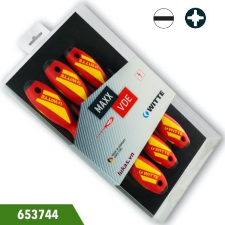 Bộ tua vít cách điện 5 món đầu hoa thị và 2 cạnh, Witte 653744. Đóng gói trong hộp nhựa. Chuẩn ISO 8764 và ISO 2380.