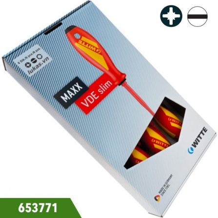 Bộ tuốc nơ vít cách điện 5 cái dẹt và bake, Witte 653771. Đầu dẹt chuẩn ISO 2380. Đầu bake chuẩn ISO 8764. Đựng trong hộp nhựa.