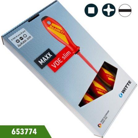 Bộ tô vít 7 món cách điện 1000V 653774 Witte Germany. Gồm đầu dẹt, đầu bake và đầu vuông. Đựng trong hộp nhựa.