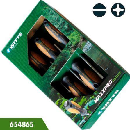 Bộ tua vít cán gỗ 5 cái gồm đầu dẹp và đầu cộng, Witte 654865. Đóng gói trong hộp giấy. Gồm 3 cây dẹt và 2 cây bake. Sản xuất 100% tại Đức.