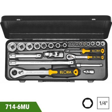 Bộ tuýp lục giác 25 món, 1/2 và 1/4 inch, Elora 714-6MU. Sản xuất chuẩn DIN 3122, ISO 3315. Đầu vuông DIN 3120, ISO 1174.