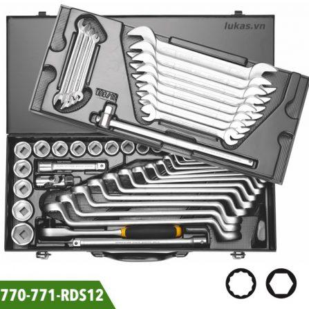 Bộ socket và cờ lê 49 món, vuông 1/2 inch Elora 770-771-RDS12. Đáp ứng chuẩn DIN 3120, ISO 1174 và 3122, ISO 3315.