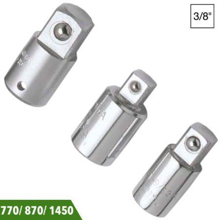 """Đầu chuyển 3/8 inch sang 1/2 và 1/4"""" Elora 870-10/ 770-L/ 1450-15. SX theo chuẩn DIN 3123, ISO 3316. Đầu vuông chuẩn DIN 3120, ISO 1174."""