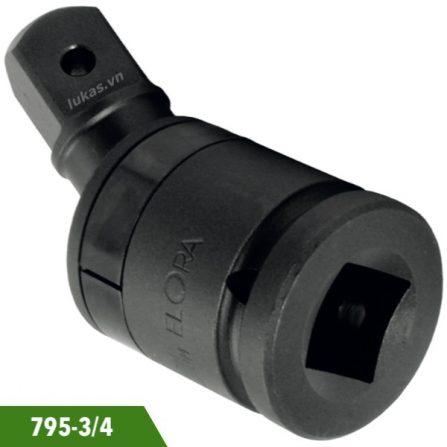 Đầu nối lắc léo 3/4 inch loại đen, dài 105mm, Elora 795-3/4. Đầu vuông đáp ứng chuẩn DIN 3121, Form F and H, ISO 1174.