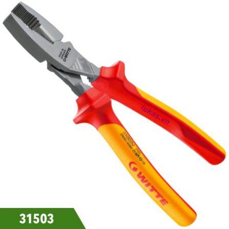 Kìm đầu bằng heavy duty 180mm cách điện 1000V Witte 31503. Đáp ứng chuẩn DIN ISO 5746 and DIN ISO EN 60900. Hàng chính hãng giá tốt.